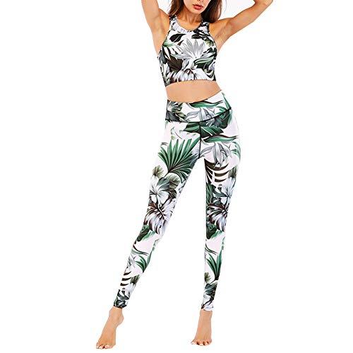 CiKiXZ Tuta da Donna Set Floreale Stampa Sportiva Crop Top e Pantaloni Elastici Stretti per Palestra Pilates Yoga Fitness Allenamento Tuta Completa per Donna (Verde, M)