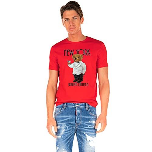 Polo Ralph Lauren Camiseta para Hombre Polo Bear New York (XXXL, Sunrise Red)