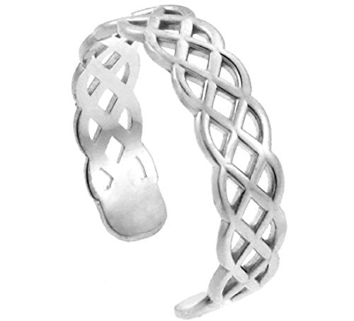 10k White Gold Trinity Knot Adjustable Celtic Toe Ring