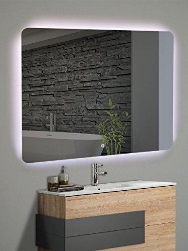Yellowshop - Specchio Specchiera Cm L.100 x H 80 A Luce LED Retroilluminato Filo Muro Bagno Design Moderno con Touch Modello Back 108