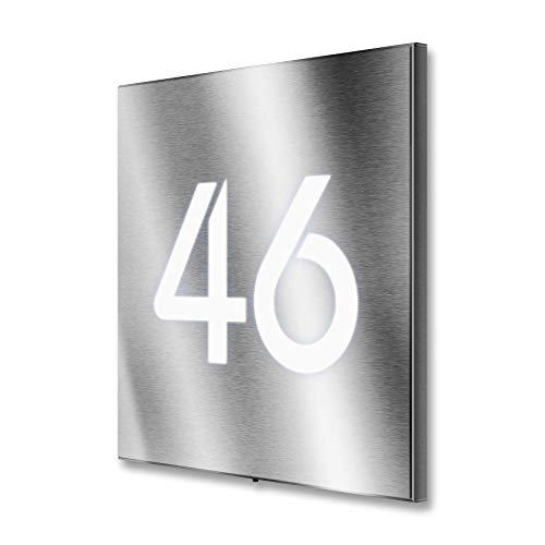 Metzler Hausnummer Edelstahl LED beleuchtet quadratisch Maße: 20 x 20 cm