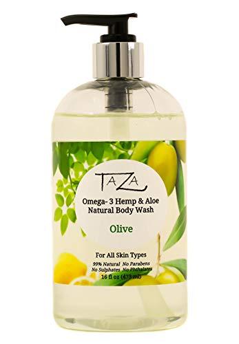 Premium Taza Natural Omega3 Hemp amp Aloe Olive Body Wash 16 fl oz 473 ml Soft Smooth Skin Contains Omega3 Hemp Seed Oil Aloe Seed Juice Chamomile Flower White Willow Bark Extract Glycerin