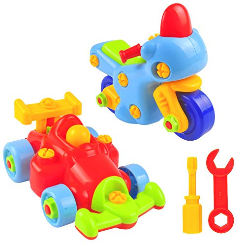 Take Apart Toy Car Activity Set for Boys and Girls with Screwdriver Tools, Stem Educational 2 Building Pull Apart F1 Race Car and Motorcycle for Toddlers and Kids, 50 Pieces Kit Best for Children 3+