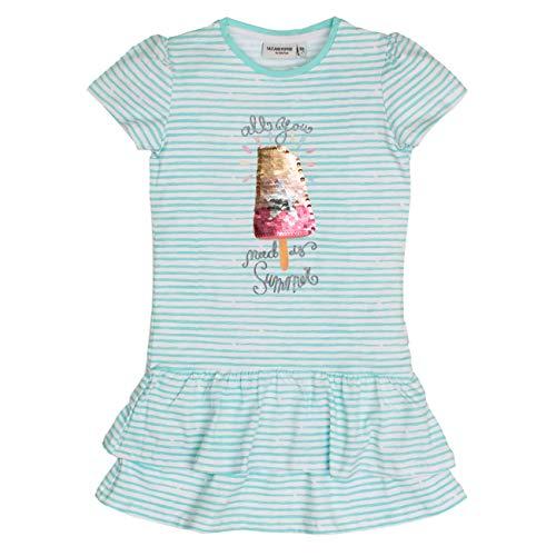 SALT AND PEPPER Mädchen Dress Sunshine Stripe Volants Kleid, Blau (Pool Blue 434), 92 (Herstellergröße: 92/98)
