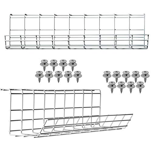 Scandinavian Hub Schreibtisch Kabelkanal – Kabelhalter für Kabelordnung. Metallene Kabelbox für Büro und Zuhause (Weiß – Set von 2X 43cm)