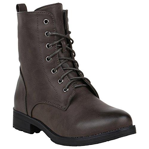 Damen Stiefeletten Worker Boots Schnürstiefeletten Schuhe 120506 Dunkelbraun Avelar 40 Flandell