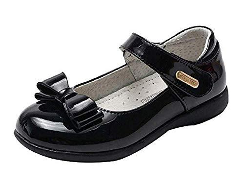 CCAWY Kinder Mädchen PU Leder süße Schleife Mary Jane Style Schulschuhe Party formelle Prinzessinnenschuhe schwarz 36code
