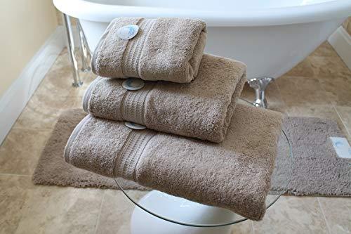 Cazsplash Lot de serviettes en coton bio 650 g/m² Pierre