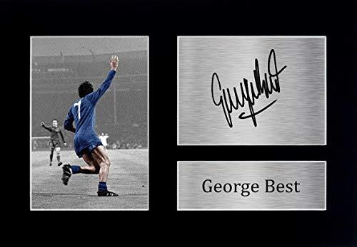 HWC Trading George Best A4 Ungerahmt Signiert Gedruckt Autogramme Bild Druck-Fotoanzeige Geschenk Für Manchester United Fußball Fans