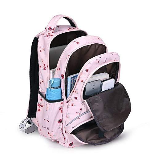 La Nueva Mochila Mochila Bolsa Grande Linda Escuela Estudiante Imprimir Impermeables niña bagpack niños (Color : Pink Flower)
