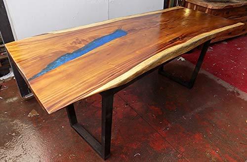 Marblechic - Tavolo da pranzo stile industrial in legno suar e resina gambe in ferro cm 210x84/90 irregolare