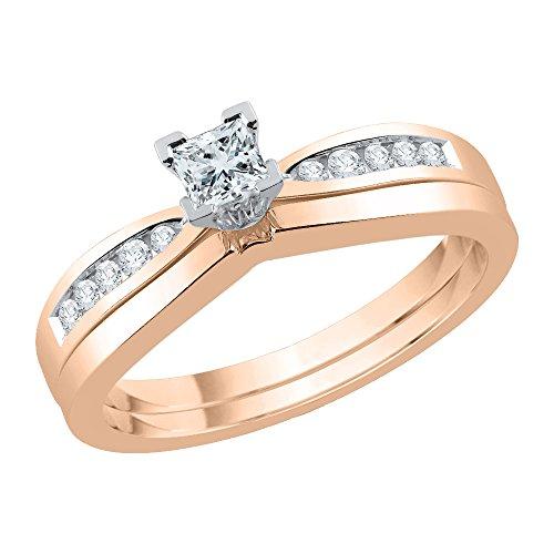 KATARINA Set de novia de diamantes redondos y de corte princesa en oro de 14 k (1/3 quilates, J-K, SI2-I1)