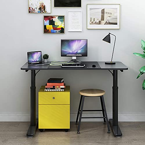 Eureka Ergonomic Adjustable Computer Desk 47 Inch, Height Adjustable Desk for Home Office Modern Simple Writing Desks PC Table with Free Mouse Pad, Mechanical Adjustment Black