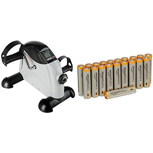 Ultrasport Mini Bike , Arm- und Beintrainer, Heimtrainer, Minifahrrad, MB 100 & Amazon Basics Performance Batterien Alkali, AAA, 20 Stück (Design kann von Darstellung abweichen)