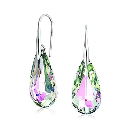 Cristal Arcoiris Facetado Rosado Lágrima Iridiscente Verde Colgante Pendiente Para Mujer Para Adolescente Prom 925
