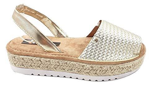 Timbos Zapatos - 122708- Menorquina Plataforma Esparto, Verano para Mujer en Color Plata (Oro, Numeric_36)