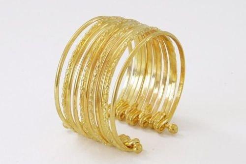 Panelize 12 goldene Armringe goldenes Armband Armreifen Zigeunerin Bauchtanz Modeschmuck