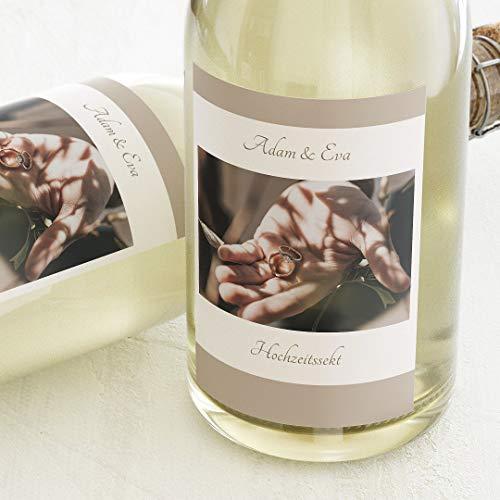 sendmoments Flaschenetiketten, Passepartout, Aufkleber, Sektetiketten, selbstklebend, personalisiert mit Text & Foto zur Hochzeit, Label für Flaschen, als Geschenk, Hochformat, ab 10 Stück