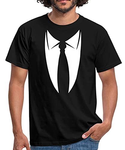 Fake Anzug mit Krawatte Männer T-Shirt, L, Schwarz