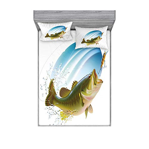 Ambesonne Fishing Fitted Sheet & Pillow Sham Set, Largemouth Sea Bass Catching a Bite in Water Spray Motion Splashing Wild Image, Decorative Printed 3 Piece Bedding Decor Set, Queen, Green Blue