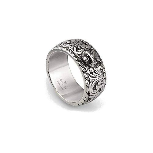Gucci Schmaler Ring aus Silber mit Felinekopf Größe 62 YBC433571001022