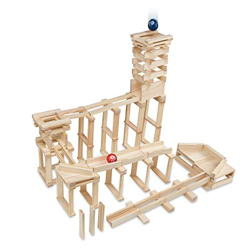MindWare KEVA Contraptions 400 Planks - Free-Form 3D Building for Kids - Create Your own Architecture Designs with Simple Wood Blocks & 2 Light-Weight Balls