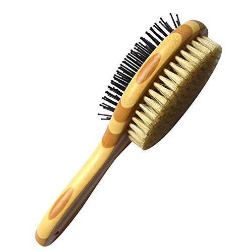 ICEBLUEOR Pet Comb, Professional Double Sided Pin & Bristle Bamboo Brush for Dogs & Cats, Grooming Comb Cleans Pets Shedding & Dirt for Short Medium or Long Hair