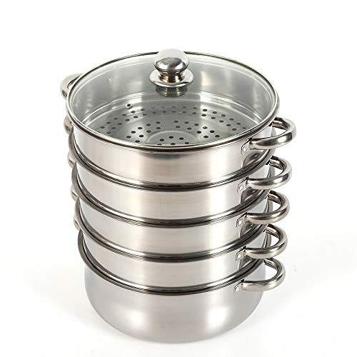 YOHIKOKIU Vaporera de acero inoxidable, 5 recipientes de vapor con tapa de cristal, acero...