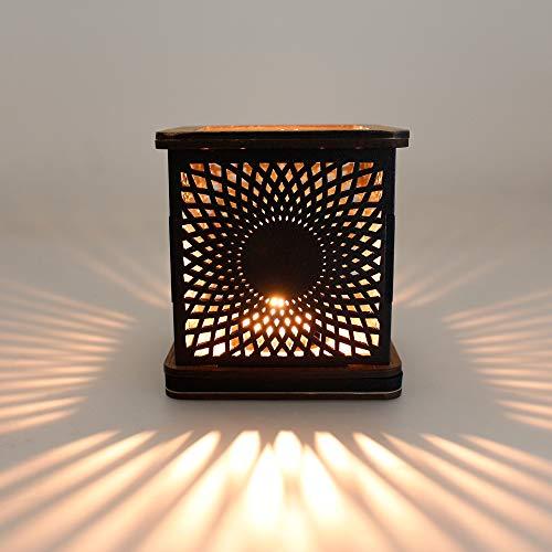 G4 DANSK Porta Velas Decorativo MDF enchapado. Diseño Sol. 11.2 x 11.2 cm. Base y encimera Caoba, Pantalla Negro