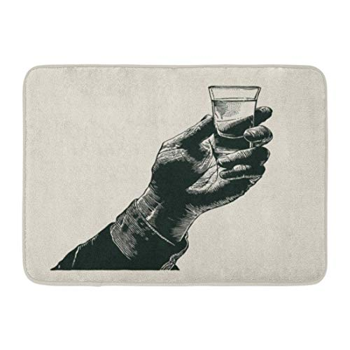 Yilan Deurmatten Badtapijten Outdoor/Indoor Deur Mat Vintage Mannelijke Hand Holding Shot van Alcohol Drink Graveren Glas Whiskey Badkamer Decor Tapijt Badmat 16