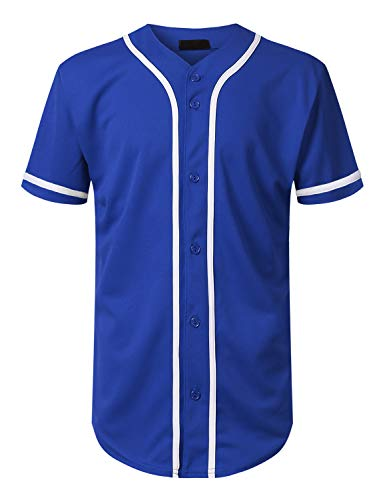 Mersenne Men's Baseball Jersey Button Down Short Sleeve Shirts (L, Royal/White-SLV)