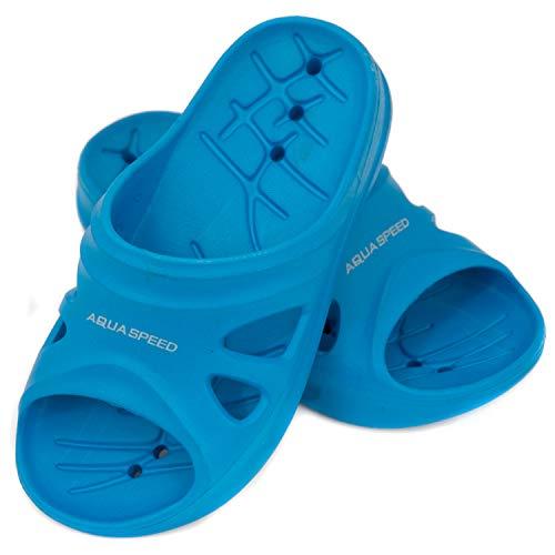 Aqua Speed - Set - Ciabatte da Doccia + Asciugamano in Microfibra | Pantofole da Bagno | Ciabatte da Spiaggia | Blu | Taglia: 32