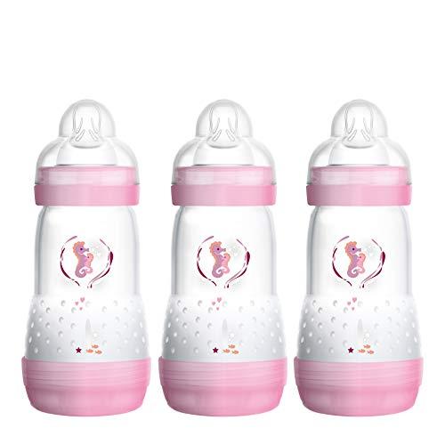 MAM Easy Start Anti-Colic Babyflasche im 3er-Set (260 ml) – Milchflasche mit Bodenventil gegen Koliken – Baby Trinkflasche mit Sauger Größe 1, ab der Geburt, rosa