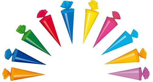 10 Deko Schultüten / Länge: 20cm / 10 verschiedene Farben