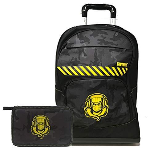 Fortnite Raptor Schoolpack Zaino Trolley Organizzato più Astuccio 3 Zip Completo di Cancelleria- Scuola 2020-2021