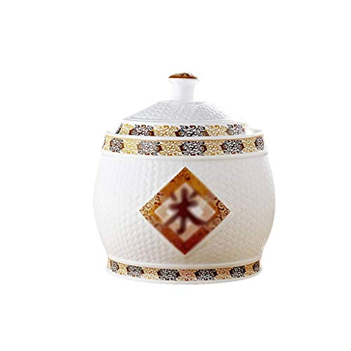 XYZMDJ Tarro de cerámica Arroz Cubierta de la Hoja de té del Tanque de Aceite Vino de Misa del Cilindro del Tanque de Agua de cerámica Arroz Cilindro arroz de la Cocina de arroz Barril