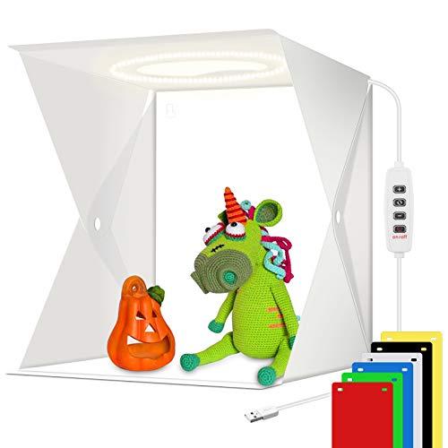 Studio fotografico portatile scatola luminosa per foto tenda studio fotografico con 72 pezzi di perline LED e 3 modalità di luce regolabili (23x23cm)