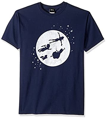 Disney Men's Peter Pan Tinkerbell Second Star to Right Graphic T-Shirt, Navy, L