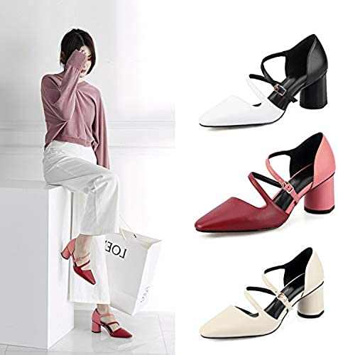 HOESCZS Tacones Altos Leather Belt Buckle Pointed Hollow Sandals Summer Heels Hollow Thick with Single zapatos mujer