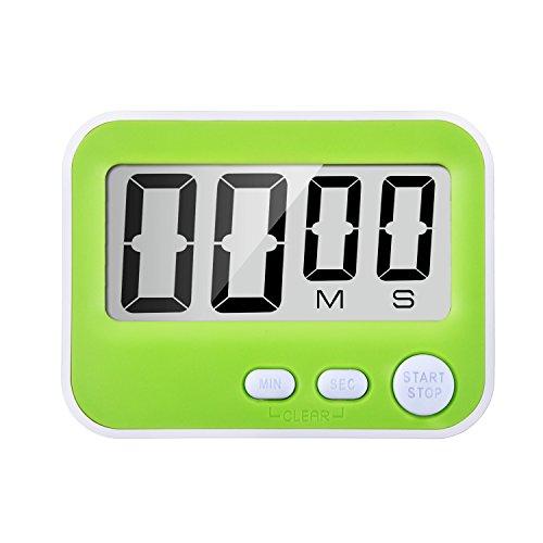 Magnetischer Digitaler Küchentimer Stoppuhr Eieruhr mit lautem Alarm, großem Bildschirm und Haken (Grün)