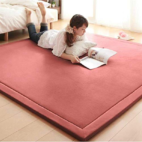 IUYJVR Baby Play Mat, 2cm Thick Coral Velvet Mattress Japanese Tatami Floor Mat Sleeping,soft Foldable Children Crawling Mat Bedroom Living Room Rugs-pink 150x200cm(59x79inch)
