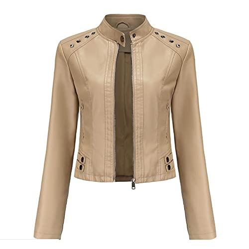 ZYLL Otoño de Cuero de imitación Remache Tachonado Abrigo de Mujer Cremallera Moto Biker Stand Collar Mujeres Abrigos Moda Streetwear Chaquetas,Apricot,XL