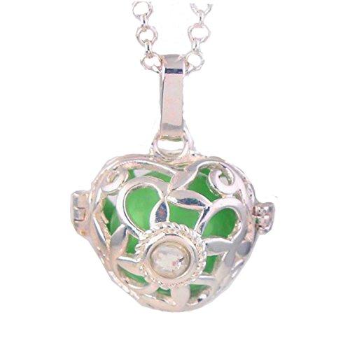 Pendentif Bijou Argent de Grossesse Diamant central Carillon Vert