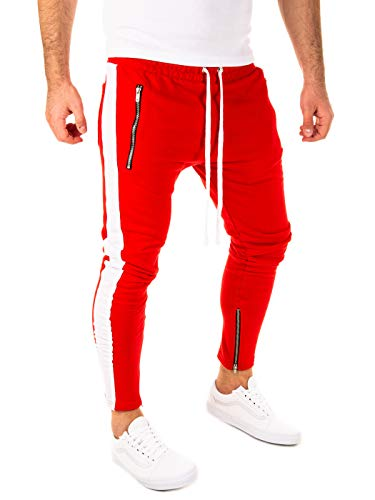 PITTMAN Herren Retro Jogginghose mit Reißverschlüsse an den Beinenden, Rot/Weiß (0201), S
