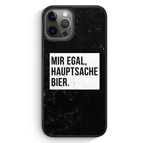 MUNIQASE Mir Egal Hauptsache Bier - Silikon Hülle für iPhone 12 Pro Max - Motiv Design Cool Witzig Lustig Spruch Zitat Grunge - Cover Handyhülle Schutzhülle Hülle Schale