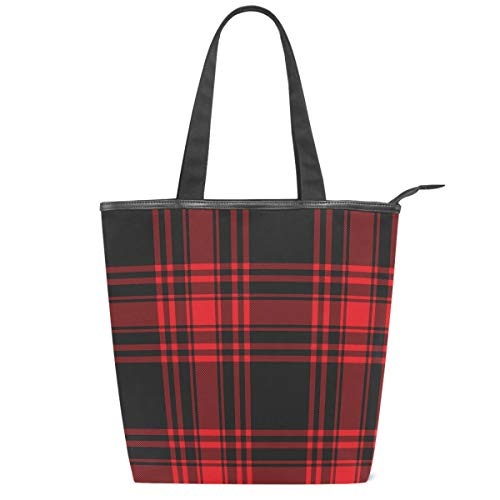 Red Black Plaid Canvas Tote Bag Christmas Tartan Check Casual Shoulder Bag Handbag with Zipper Eco-Friendly Reusable Grocery Shopping Bags for Women Girls