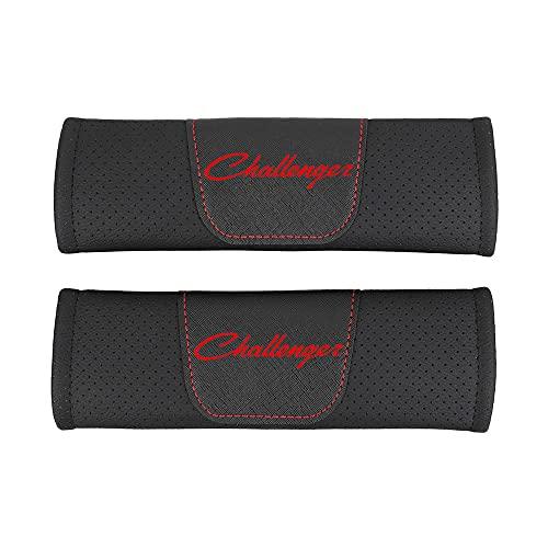 AKMEYI 2 Piezas Almohadillas para Cinturón de Seguridad de Cuero para Dodge Challenger, Cuero PU Transpirable Almohadillas Protectores de Coche Hombro, con Emblema