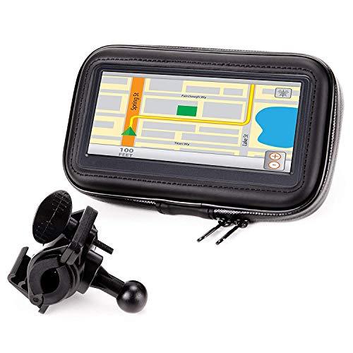Soporte y Carcasa Impermeable para el Móvil o GPS en Moto Bicicleta o Scooter con visión 360 y pantalla táctil por USA GEAR / Perfecto para moviles y GPS de hasta 6 pulgadas / Compatible con Iphone, Samsung, BQ, Motorola