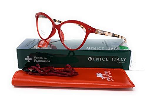 Gafas de lectura presbicia Mujer Diseño en Colores: Verde, Rojo, Rosa, Negro. VENICE Zenny - Dioptrías: 1 a 3,5 (Rojo, 1,00)