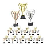 Relaxdays, Multicolore, Coppe, Set 3 Trofei, Sport & Feste, Senza Scritta, Plastica, Premiazioni Bambini, 22,5x13,5x8,5 cm, Gioventù Unisex, 3 pz